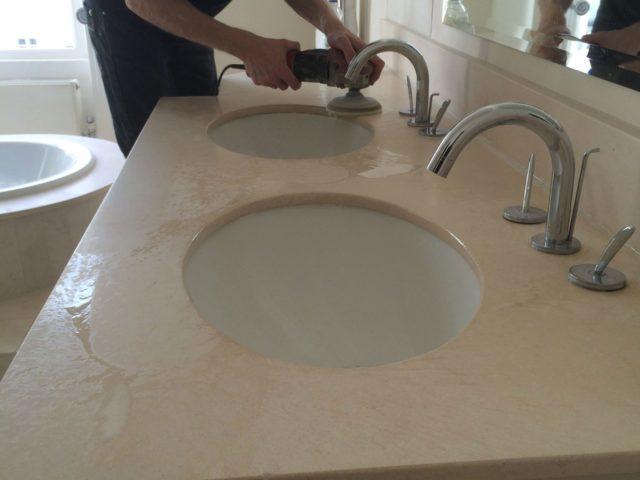 Limestone bathroom vanity top cleaner cleaning polishing sealing Brighton Hove East Sussex
