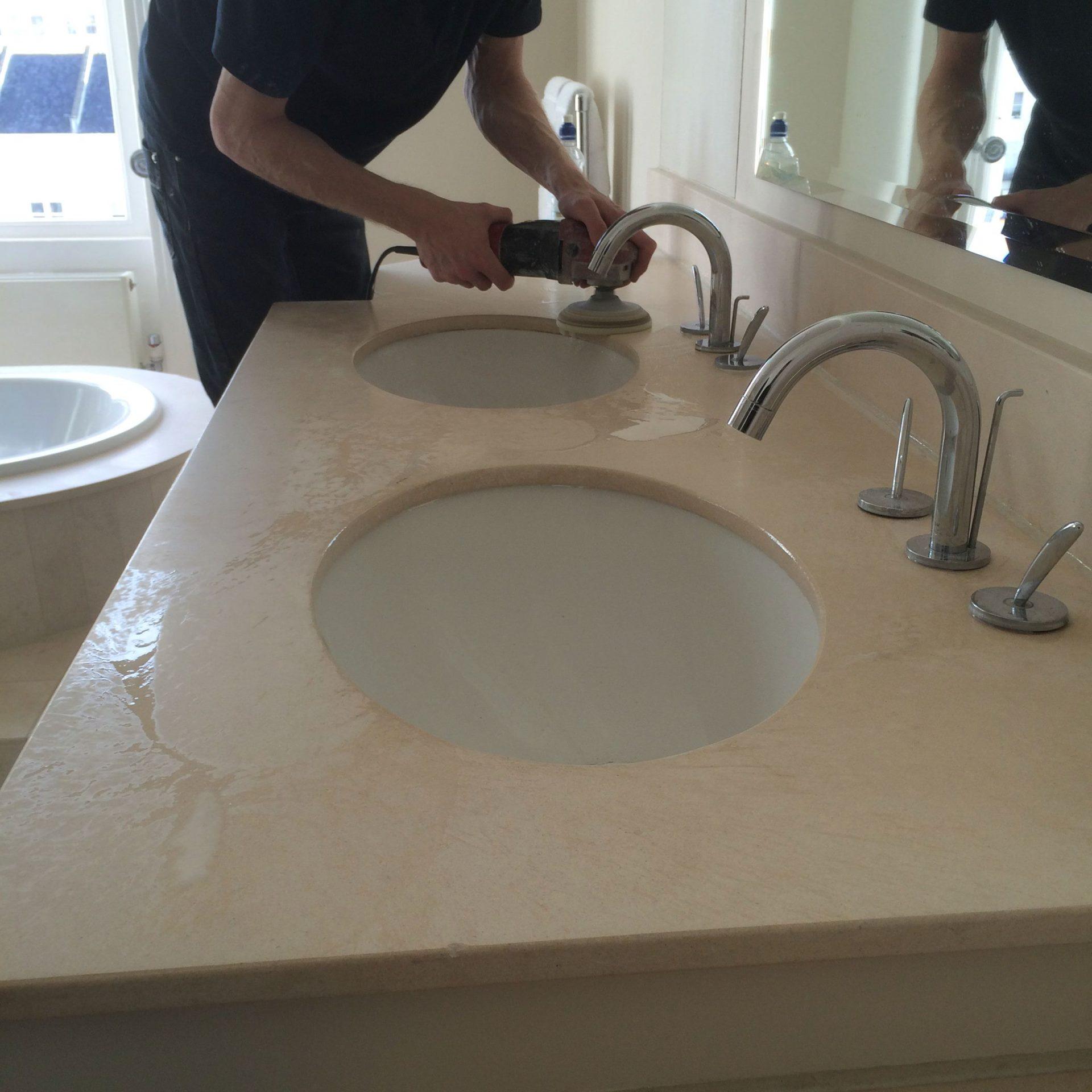 Limestone Bathroom Vanity Top Cleaning Sealing Brighton Hove East Sussex Floor Polishing